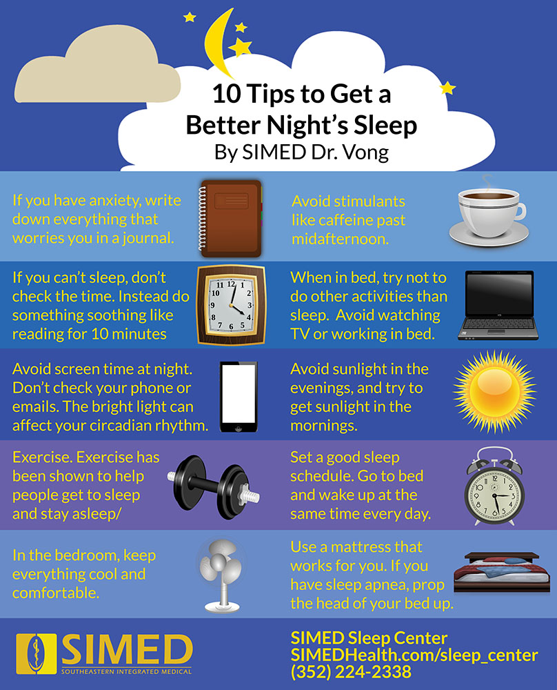 infographic with 10 tips for a better night's sleep to help with sleeping problems