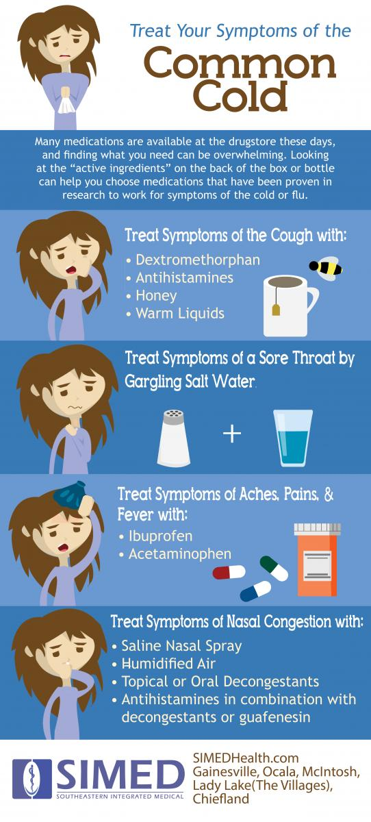 Treat Your Symptoms of the Common Cold Flat Design Infographic