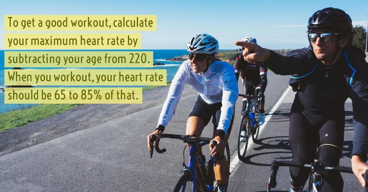 Men riding bicycles along the shore with information on how to get a good workout and calculate max heart rate