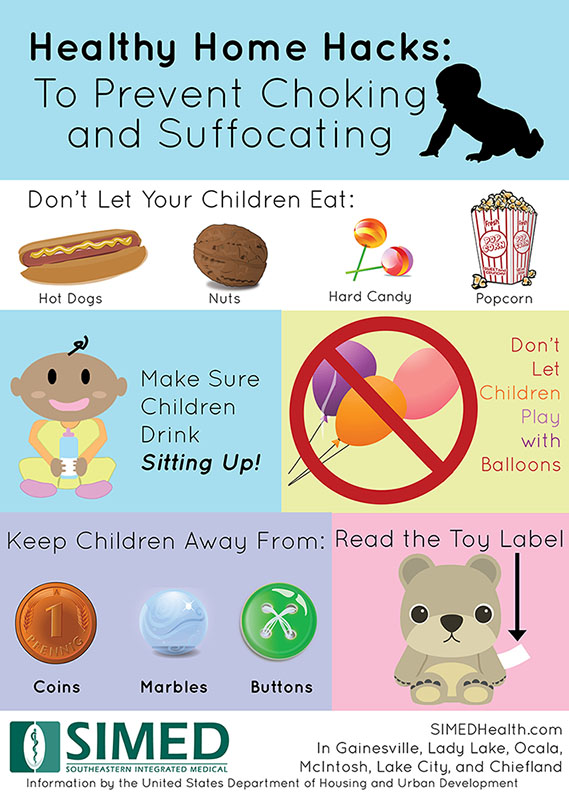 infographic on ways to prevent choking and suffocating in young children as part of a healthy home tip or hack