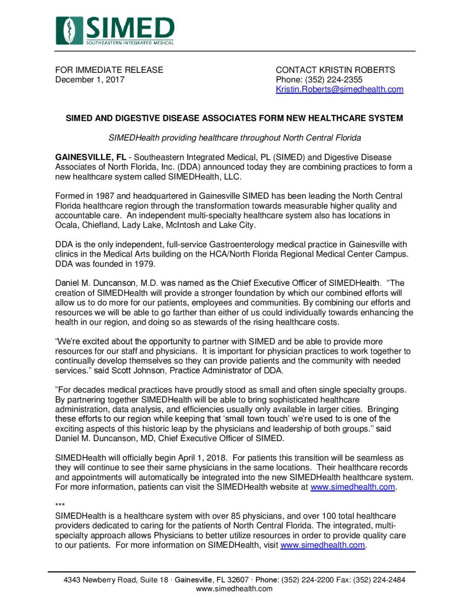 SIMEDHealth press release