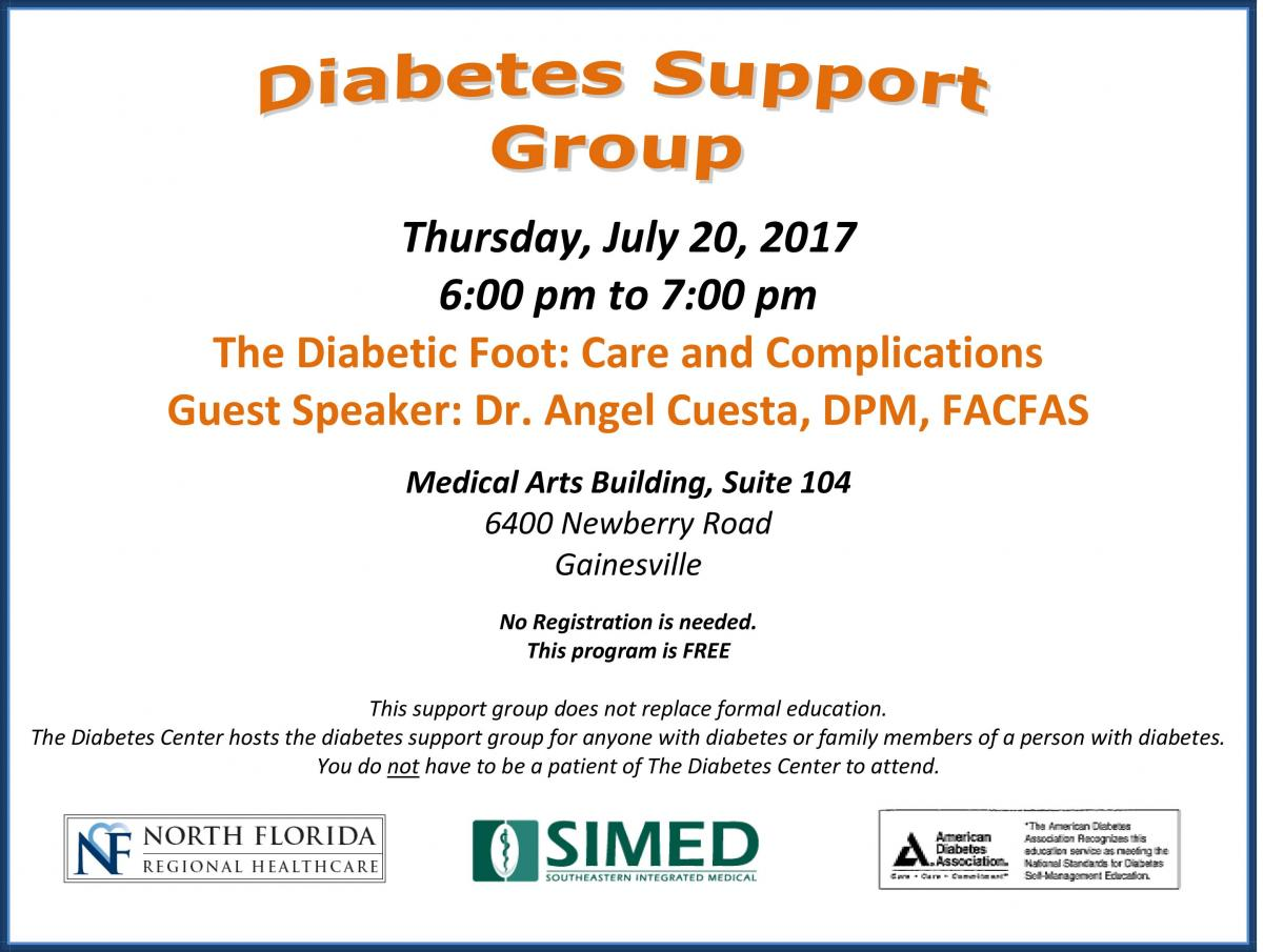 Dr. Angel Cuesta presents at the Gainesville Diabetes Support Group on Diabetic Foot Care