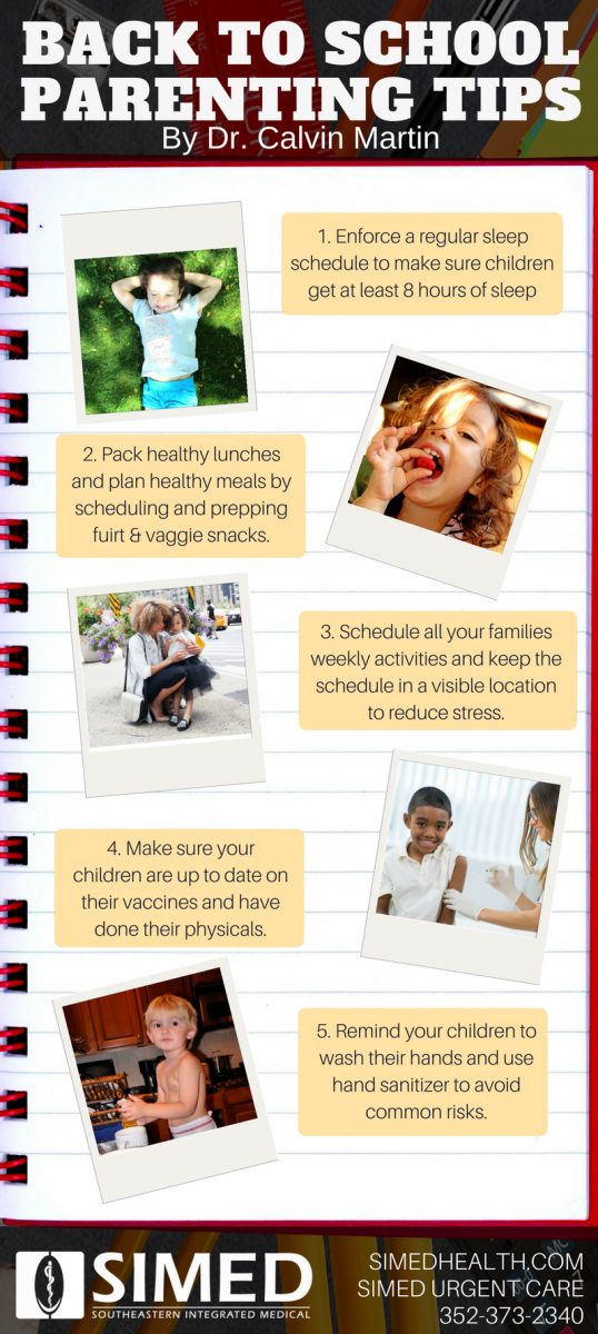 infographic with back to school health tips for parents