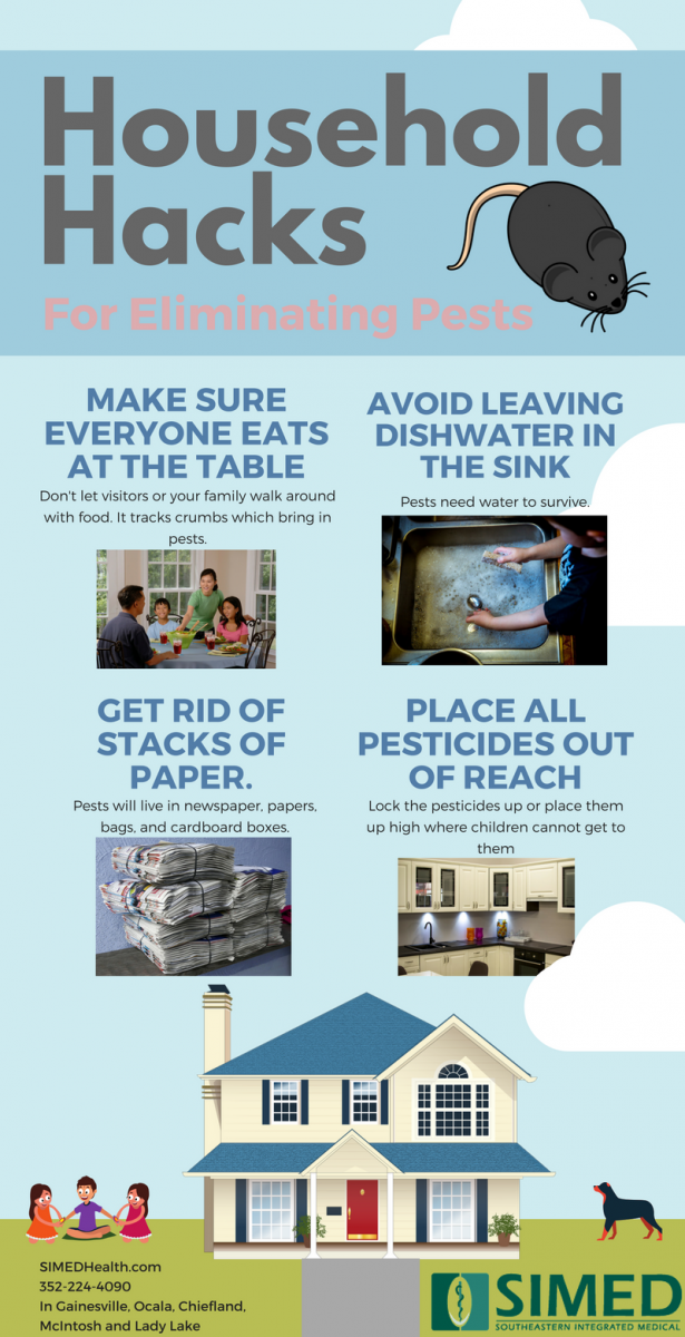 infographic on keeping a healthy home and household hacks and tips for eliminating or getting rid of pests
