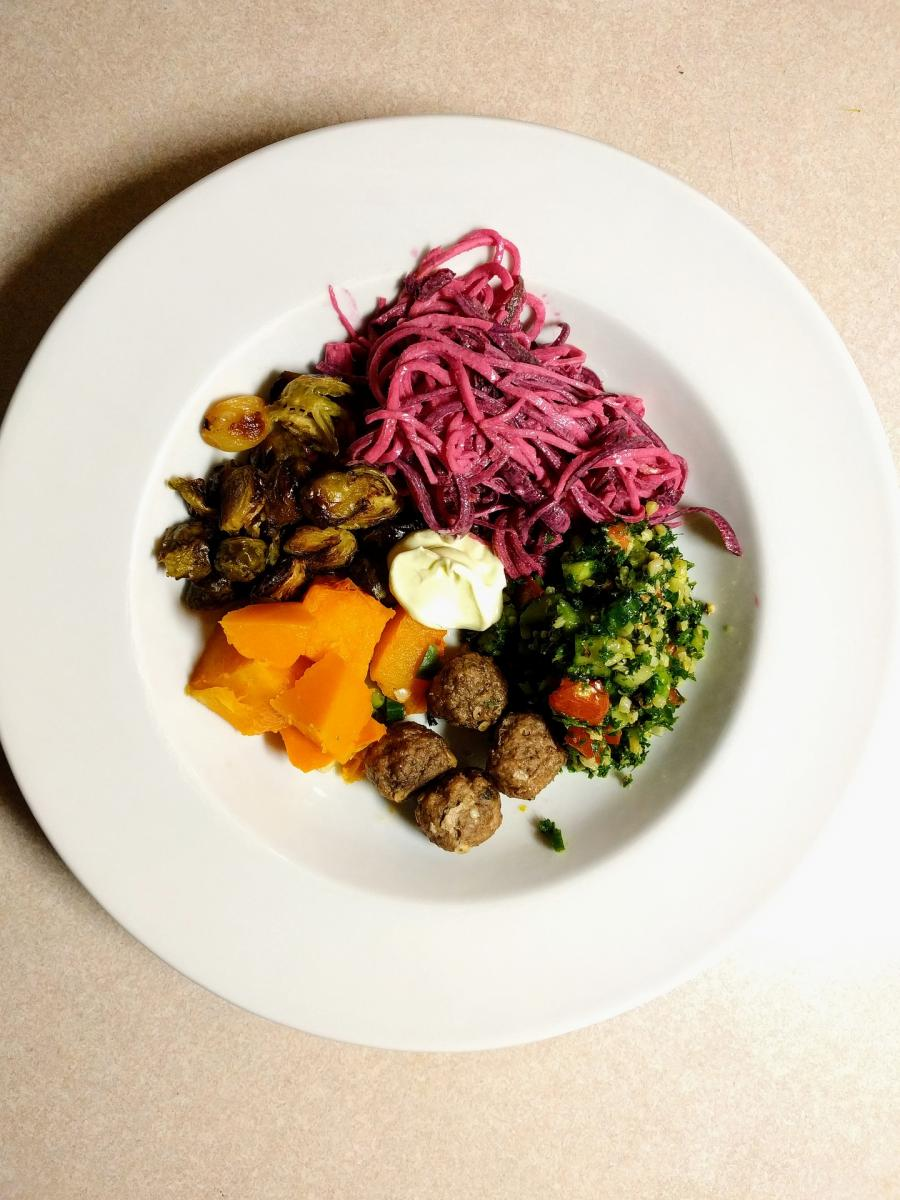 Paleo diet food with raw ingredients to prep for a half marathon run