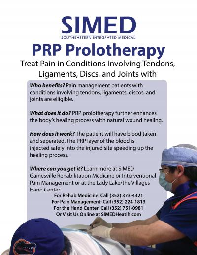 Flyer for SIMED PRP Prolotherapy