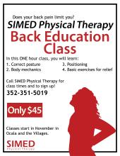 Flyer for SIMED Physical Therapy Back Education Classes with person with back pain