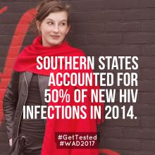 Image of woman with red shawl against a brick wall and statistics about HIV infection.