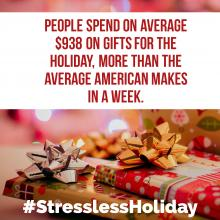 Wrapped gifts and presents with text about how people spend so much money on gifts for the holidays