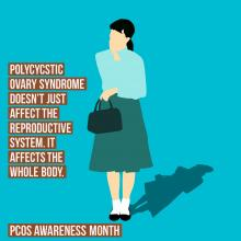 Woman standing with a background behind her and information about polycystic ovarian syndrome or PCOD