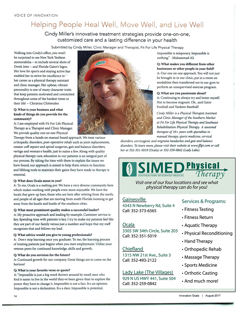 Cindy Miller Physical Therapy Article in Innovation Ocala