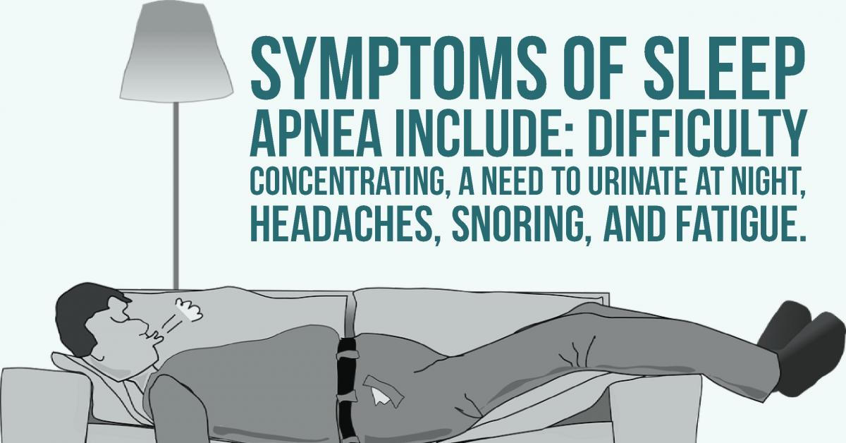 a man sleeping on a sofa with information about sleep apnea and the symptoms