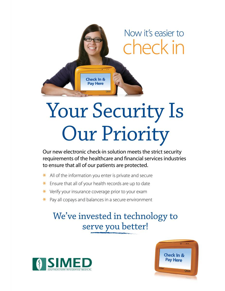 Flyer for SIMED's New Check-In System