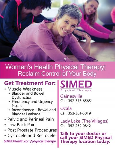 Flyer for SIMED Women's Health Physical Therapy in Gainesville, Ocala, and Lady Lake
