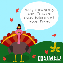 Thanksgiving turkey flat design doctor office closed announcement