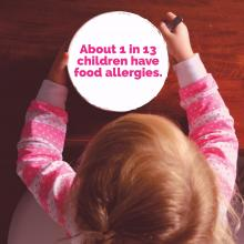 A young girl stares at a bowl that includes a statistic about food allergies.
