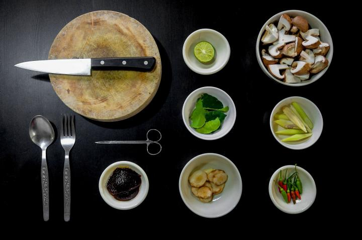 cooking with healthy ingredients in bowls with knife